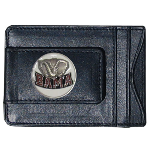 Alabama Crimson Tide Leather Cash & Cardholder - Our Alabama Crimson Tide genuine leather cash & cardholder features a magnetic money clip and credit card slots on one side and a photo ID slot on the other. This versatile holder features a cast & enameled Alabama Crimson Tide emblem on the money clip. Thank you for shopping with CrazedOutSports.com