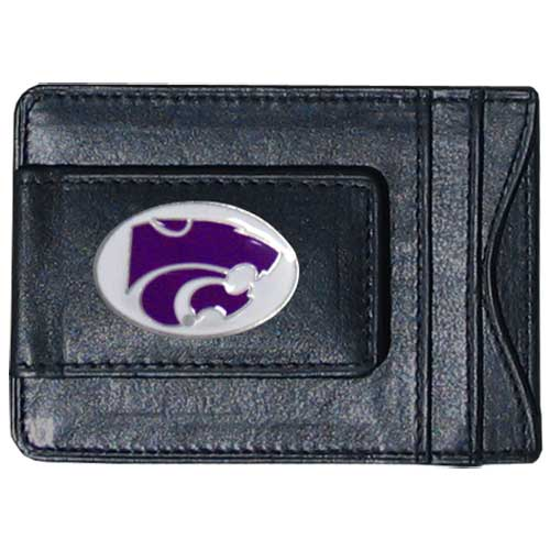 Money Clip/Cardholder - Kansas St. Wildcats - This Kansas St. Wildcats genuine leather collegiate money clip/cardholder is the perfect way to organize both your cash and cards while showing off your school spirit! Thank you for shopping with CrazedOutSports.com