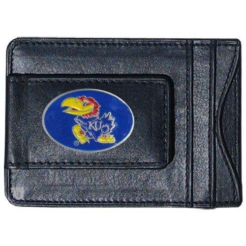 Money Clip/Cardholder - Kansas Jayhawks - This genuine Kansas Jayhawks leather money clip/cardholder is the perfect way to organize both your cash and cards while showing off your school spirit! Thank you for shopping with CrazedOutSports.com