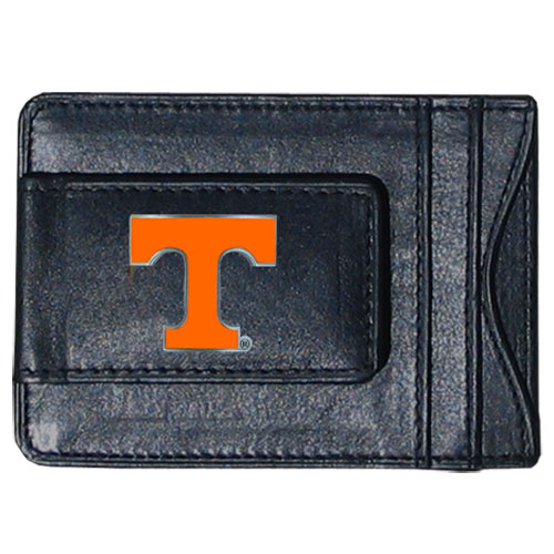 Tennessee Leather Cash & Cardholder - Our genuine leather cash & cardholder features a magnetic money clip and credit card slots on one side and a photo ID slot on the other. This versatile holder features a cast & enameled Tennessee emblem on the money clip. Thank you for shopping with CrazedOutSports.com