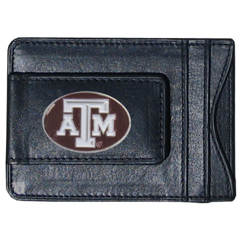 Money Clip/Cardholder - Texas A and M Aggies - Our genuine leather collegiate money clip/cardholder is the perfect way to organize both your cash and cards while showing off your school spirit! Thank you for shopping with CrazedOutSports.com