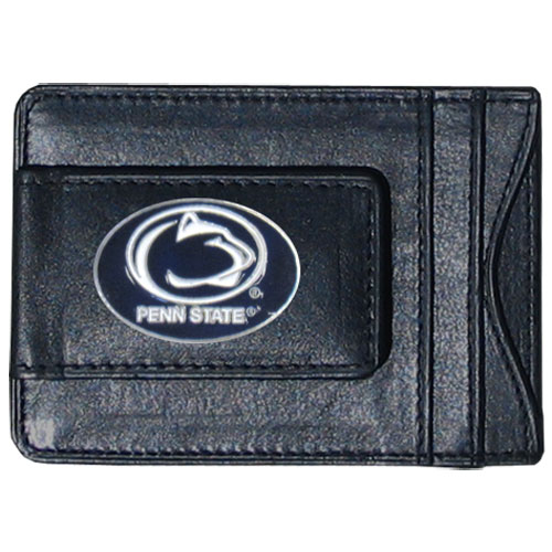 Money Clip/Cardholder - Penn St. Nittany Lions - Our genuine leather collegiate money clip/cardholder is the perfect way to organize both your cash and cards while showing off your school spirit! Thank you for shopping with CrazedOutSports.com