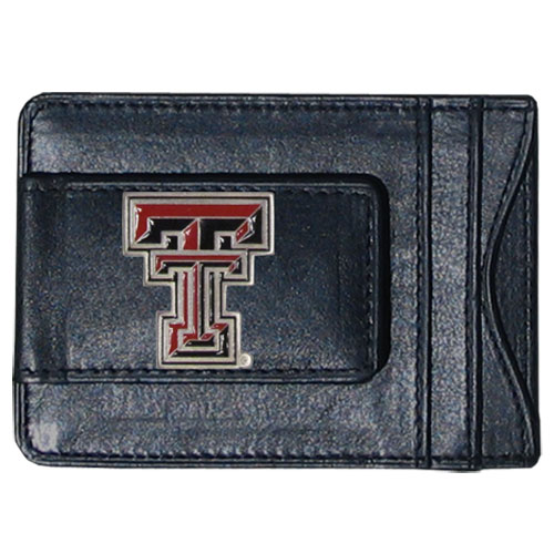 Texas Tech Leather Cash & Cardholder - Our genuine leather cash & cardholder features a magnetic money clip and credit card slots on one side and a photo ID slot on the other. This versatile holder features a cast & enameled Texas Tech emblem on the money clip. Thank you for shopping with CrazedOutSports.com