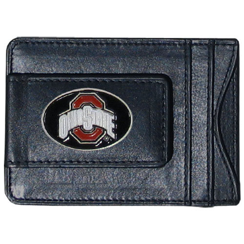 Money Clip/Cardholder - Ohio St. Buckeyes - Our genuine leather collegiate money clip/cardholder is the perfect way to organize both your cash and cards while showing off your school spirit! Thank you for shopping with CrazedOutSports.com
