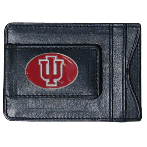 Money Clip/Cardholder - Indiana Hoosiers - Our genuine leather collegiate Indiana Hoosiers money clip/cardholder is the perfect way to organize both your cash and cards while showing off your school spirit! Thank you for shopping with CrazedOutSports.com
