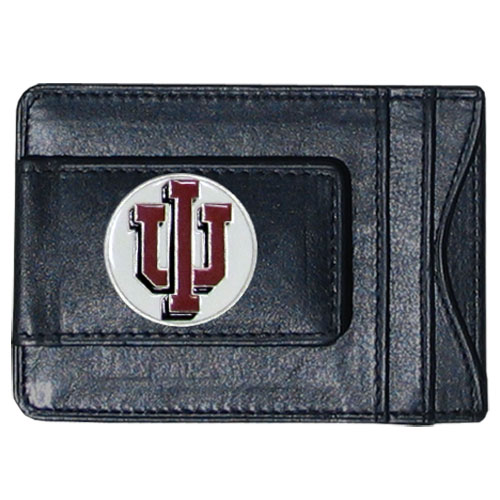 Indiana Hoosiers Leather Cash & Cardholder - This genuine Indiana Hoosiers leather cash & cardholder features a magnetic money clip and credit card slots on one side and a photo ID slot on the other. This versatile holder features a cast & enameled Indiana emblem on the money clip. Thank you for shopping with CrazedOutSports.com