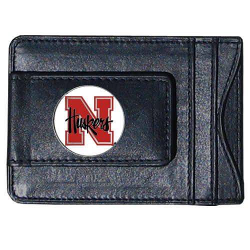 Nebraska Leather Cash & Cardholder - Our genuine leather cash & cardholder features a magnetic money clip and credit card slots on one side and a photo ID slot on the other. This versatile holder features a cast & enameled Nebraska emblem on the money clip. Thank you for shopping with CrazedOutSports.com