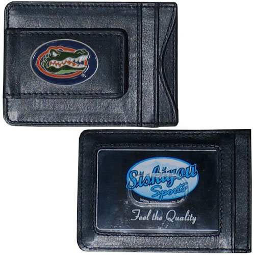Money Clip/Cardholder - Florida Gators - Our genuine leather collegiate money clip/cardholder is the perfect way to organize both your cash and cards while showing off your Florida Gators school spirit! Thank you for shopping with CrazedOutSports.com
