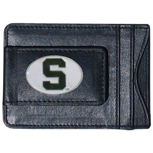 Michigan St. Spartans Money Clip/Cardholder - This genuine leather Michigan St. Spartans Money Clip/Cardholder is the perfect way to organize both your cash and cards while showing off your school spirit! Thank you for shopping with CrazedOutSports.com