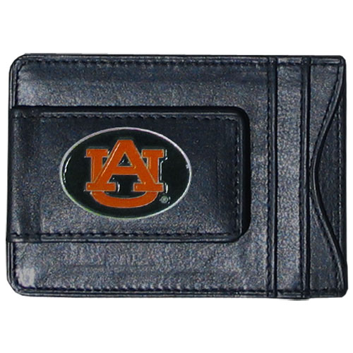 Money Clip/Cardholder -Auburn Tigers - Our genuine leather collegiate money clip/cardholder is the perfect way to organize both your cash and cards while showing off your Auburn Tigers spirit! Thank you for shopping with CrazedOutSports.com