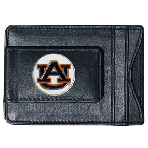 Auburn Tigers Leather Cash & Cardholder - Our genuine leather cash & cardholder features a magnetic money clip and credit card slots on one side and a photo ID slot on the other. This versatile holder features a cast & enameled Auburn Tigers emblem on the money clip. Thank you for shopping with CrazedOutSports.com