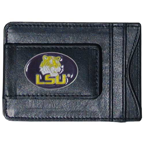 LSU Tigers Leather Cash & Cardholder - This genuine leather LSU Tigers cash & cardholder features a magnetic money clip and credit card slots on one side and a photo ID slot on the other. This versatile holder features a cast & enameled LSU emblem on the money clip. Thank you for shopping with CrazedOutSports.com