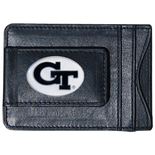 Money Clip/Cardholder - Georgia Tech Yellow Jackets - Our genuine leather collegiate money clip/cardholder is the perfect way to organize both your cash and cards while showing off your school spirit! Thank you for shopping with CrazedOutSports.com