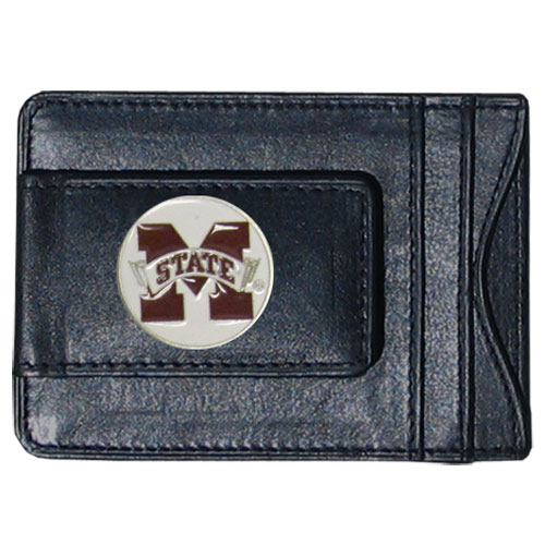 Mississippi  Leather Cash and Cardholder - Our genuine leather cash & cardholder features a magnetic money clip and credit card slots on one side and a photo ID slot on the other. This versatile holder features a cast & enameled Mississippi St. emblem on the money clip. Thank you for shopping with CrazedOutSports.com