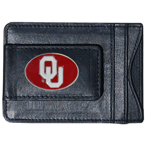Money Clip/Cardholder - Oklahoma Sooners - Our genuine leather collegiate money clip/cardholder is the perfect way to organize both your cash and cards while showing off your school spirit! Thank you for shopping with CrazedOutSports.com