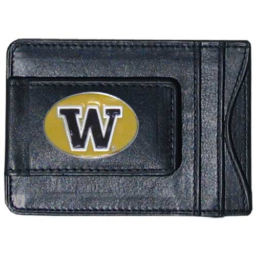 Washington Leather Cash and Cardholder - Our genuine leather cash & cardholder features a magnetic money clip and credit card slots on one side and a photo ID slot on the other. This versatile holder features a cast & enameled Mississippi St. emblem on the money clip. Thank you for shopping with CrazedOutSports.com