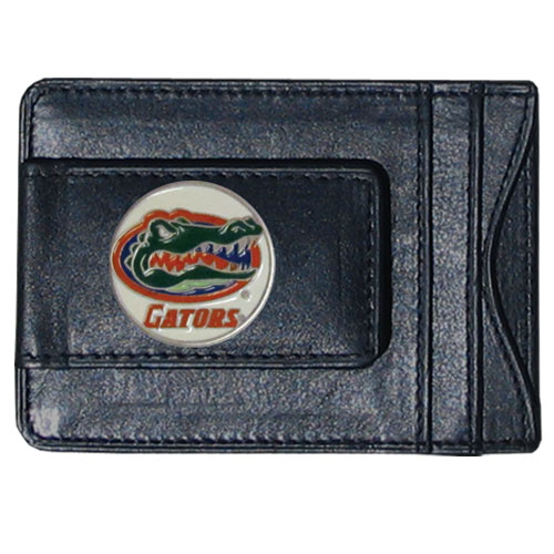 Florida Gators Leather Cash and Cardholder - Our genuine leather cash & cardholder features a magnetic money clip and credit card slots on one side and a photo ID slot on the other. This versatile holder features a cast & enameled Florida emblem on the money clip. Thank you for shopping with CrazedOutSports.com