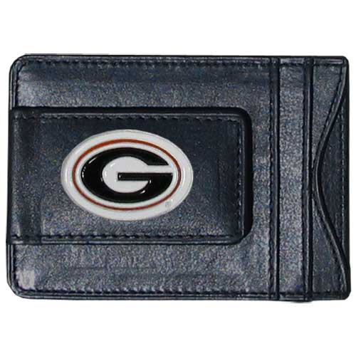Money Clip/Cardholder - Georgia Bulldogs - Our genuine leather collegiate Georgia Bulldogs money clip/cardholder is the perfect way to organize both your cash and cards while showing off your school spirit! Thank you for shopping with CrazedOutSports.com