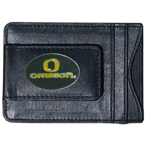 Money Clip/Cardholder - Oregon Ducks - Our genuine leather collegiate money clip/cardholder is the perfect way to organize both your cash and cards while showing off your school spirit! Thank you for shopping with CrazedOutSports.com