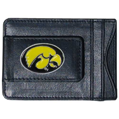 Money Clip/Cardholder - Iowa Hawkeyes - This genuine leather Iowa Hawkeyes money clip/cardholder is the perfect way to organize both your cash and cards while showing off your school spirit! Thank you for shopping with CrazedOutSports.com