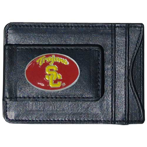 Money Clip/Cardholder - USC - Our genuine leather collegiate money clip/cardholder is the perfect way to organize both your cash and cards while showing off your school spirit! Thank you for shopping with CrazedOutSports.com