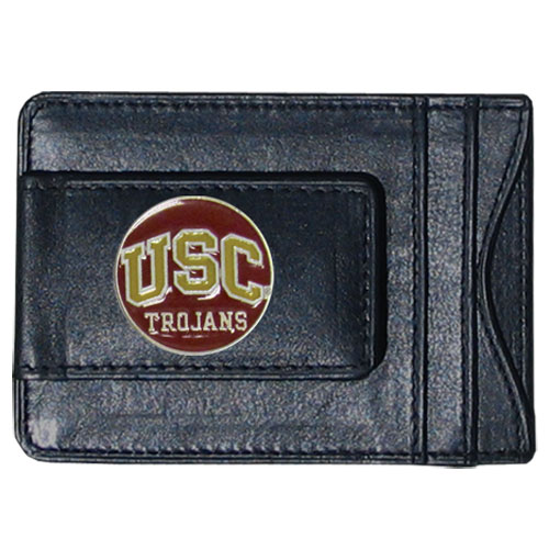 USC Leather Cash & Cardholder - Our genuine leather cash & cardholder features a magnetic money clip and credit card slots on one side and a photo ID slot on the other. This versatile holder features a cast & enameled USC emblem on the money clip. Thank you for shopping with CrazedOutSports.com