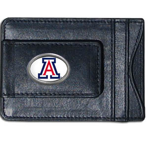 Money Clip/Cardholder - Arizona Wildcats - Our genuine leather collegiate money clip/cardholder is the perfect way to organize both your cash and cards while showing off your Arizona Wildcats school spirit! Thank you for shopping with CrazedOutSports.com