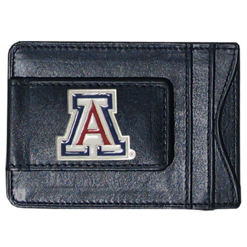 Arizona Leather Cash and Cardholder - Our genuine leather cash & cardholder features a magnetic money clip and credit card slots on one side and a photo ID slot on the other. This versatile holder features a cast & enameled Arizona emblem on the money clip. Thank you for shopping with CrazedOutSports.com