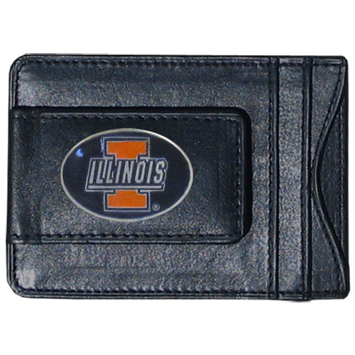 Money Clip/Cardholder - Illinois Fighting Illini - This genuine leather Illinois Fighting Illini collegiate money clip/cardholder is the perfect way to organize both your cash and cards while showing off your school spirit! Thank you for shopping with CrazedOutSports.com
