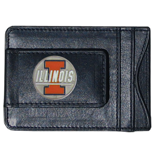 Illinois Fighting Illini Leather Cash & Cardholder - Our genuine Illinois Fighting Illini leather cash & cardholder features a magnetic money clip and credit card slots on one side and a photo ID slot on the other. This versatile holder features a cast & enameled Illinois emblem on the money clip. Thank you for shopping with CrazedOutSports.com