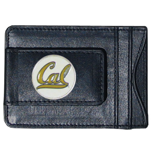 Cal Berkeley Leather Cash & Cardholder - Our genuine leather cash & cardholder features a magnetic money clip and credit card slots on one side and a photo ID slot on the other. This versatile holder features a cast & enameled Cal Berkeley Bears emblem on the money clip. Thank you for shopping with CrazedOutSports.com