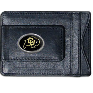 Money Clip/Cardholder - Colorado Buffaloes - Our genuine leather collegiate money clip/cardholder is the perfect way to organize both your cash and cards while showing off your Colorado Buffaloes spirit! Thank you for shopping with CrazedOutSports.com
