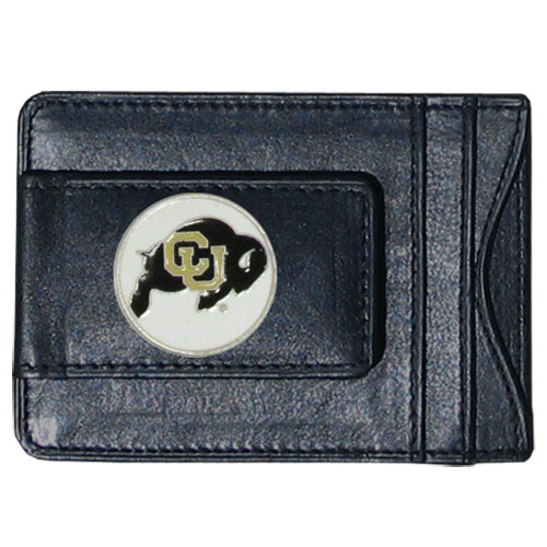 Colorado Buffaloes Leather Cash and Cardholder - Our genuine leather cash & cardholder features a magnetic money clip and credit card slots on one side and a photo ID slot on the other. This versatile holder features a cast & enameled Colorado Buffaloes emblem on the money clip. Thank you for shopping with CrazedOutSports.com