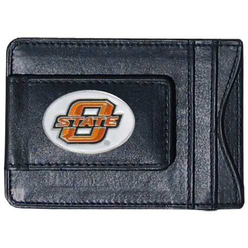 Money Clip/Cardholder - Oklahoma St. Cowboys - Our genuine leather collegiate money clip/cardholder is the perfect way to organize both your cash and cards while showing off your school spirit! Thank you for shopping with CrazedOutSports.com