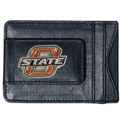 Oklahoma St. Leather Cash & Cardholder - Our genuine leather cash & cardholder features a magnetic money clip and credit card slots on one side and a photo ID slot on the other. This versatile holder features a cast & enameled Oklahoma St. emblem on the money clip. Thank you for shopping with CrazedOutSports.com