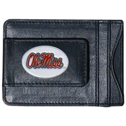 Money Clip/Cardholder - Mississippi Rebels - Our genuine leather collegiate money clip/cardholder is the perfect way to organize both your cash and cards while showing off your school spirit! Thank you for shopping with CrazedOutSports.com