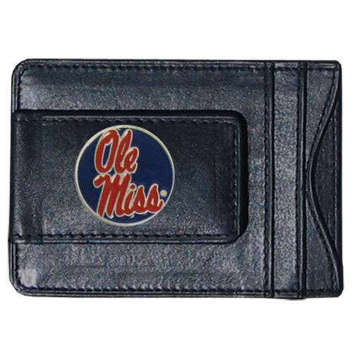 Mississippi Leather Cash and Cardholder - Our genuine leather cash & cardholder features a magnetic money clip and credit card slots on one side and a photo ID slot on the other. This versatile holder features a cast & enameled Mississippi emblem on the money clip. Thank you for shopping with CrazedOutSports.com