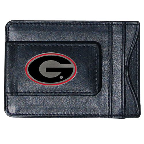 Georgia Bulldogs Leather Cash & Cardholder - This genuine Georgia Bulldogs leather cash & cardholder features a magnetic money clip and credit card slots on one side and a photo ID slot on the other. This versatile holder features a cast & enameled Georgia emblem on the money clip. Thank you for shopping with CrazedOutSports.com