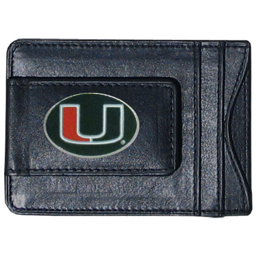 Miami Hurricanes Money Clip/Cardholder - This genuine leather collegiate Miami Hurricanes money clip/cardholder is the perfect way to organize both your cash and cards while showing off your school spirit! Thank you for shopping with CrazedOutSports.com