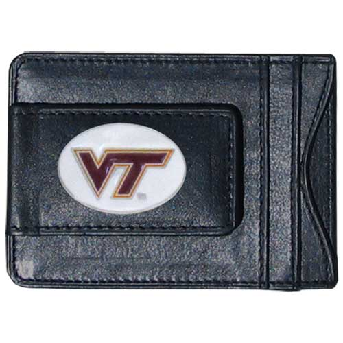 Money Clip/Cardholder - Virginia Tech Hokies - Our genuine leather collegiate money clip/cardholder is the perfect way to organize both your cash and cards while showing off your school spirit! Thank you for shopping with CrazedOutSports.com