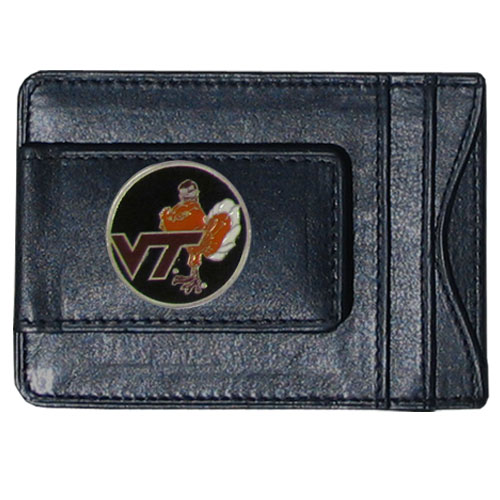 Virginia Tech Leather Cash and Cardholder - Our genuine leather cash & cardholder features a magnetic money clip and credit card slots on one side and a photo ID slot on the other. This versatile holder features a cast & enameled Virginia Tech emblem on the money clip. Thank you for shopping with CrazedOutSports.com