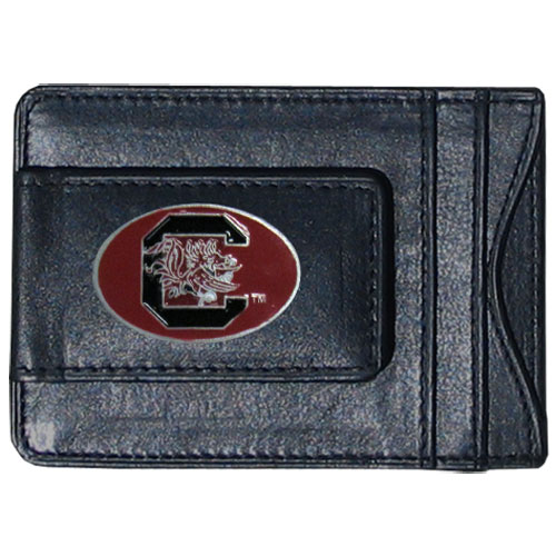 Money Clip/Cardholder - S. Carolina Gamecocks - Our genuine leather collegiate money clip/cardholder is the perfect way to organize both your cash and cards while showing off your school spirit! Thank you for shopping with CrazedOutSports.com