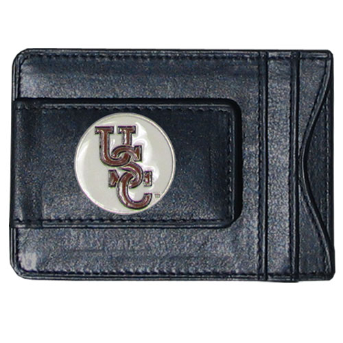 S. Carolina Leather Cash & Cardholder - Our genuine leather cash & cardholder features a magnetic money clip and credit card slots on one side and a photo ID slot on the other. This versatile holder features a cast & enameled S. Carolina emblem on the money clip. Thank you for shopping with CrazedOutSports.com
