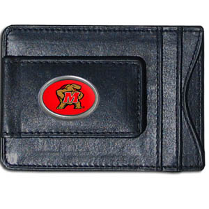 Maryland Terrapins Money Clip/Cardholder - This genuine leather collegiate Maryland Terrapins Money Clip/Cardholder is the perfect way to organize both your cash and cards while showing off your school spirit! Thank you for shopping with CrazedOutSports.com