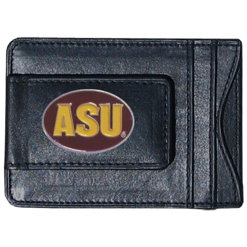 Money Clip/Cardholder - Arizona St. Sun Devils - Our Arizona State Sun Devils genuine leather collegiate money clip/cardholder is the perfect way to organize both your cash and cards while showing off your school spirit! Thank you for shopping with CrazedOutSports.com