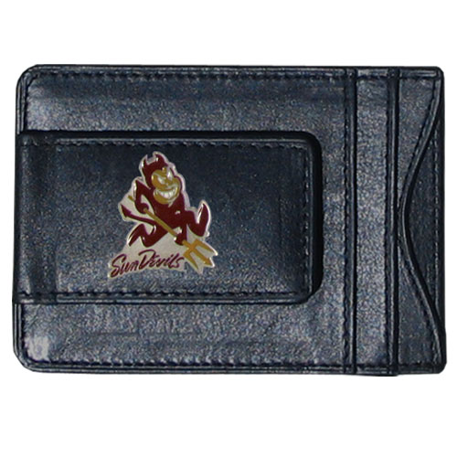 Arizona St. Sun Devils Leather Cash & Cardholder - Our genuine leather cash & cardholder features a magnetic money clip and credit card slots on one side and a photo ID slot on the other. This versatile holder features a cast & enameled Arizona State Sun Devils emblem on the money clip. Thank you for shopping with CrazedOutSports.com