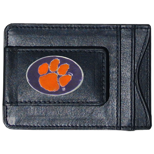Money Clip/Cardholder - Clemson Tigers - Our genuine leather collegiate money clip/cardholder is the perfect way to organize both your cash and cards while showing off your Clemson Tigers spirit! Thank you for shopping with CrazedOutSports.com
