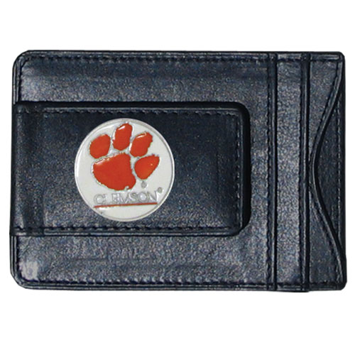 Clemson Tigers Leather Cash & Cardholder - Our genuine leather cash & cardholder features a magnetic money clip and credit card slots on one side and a photo ID slot on the other. This versatile holder features a cast & enameled Clemson emblem on the money clip. Thank you for shopping with CrazedOutSports.com
