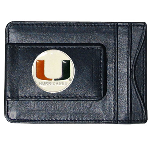 Miami Hurricanes Leather Cash & Cardholder - This genuine leather Miami Hurricanes cash & cardholder features a magnetic money clip and credit card slots on one side and a photo ID slot on the other. This versatile Miami Hurricanes Leather Cash & Cardholder features a cast & enameled Miami emblem on the money clip. Thank you for shopping with CrazedOutSports.com