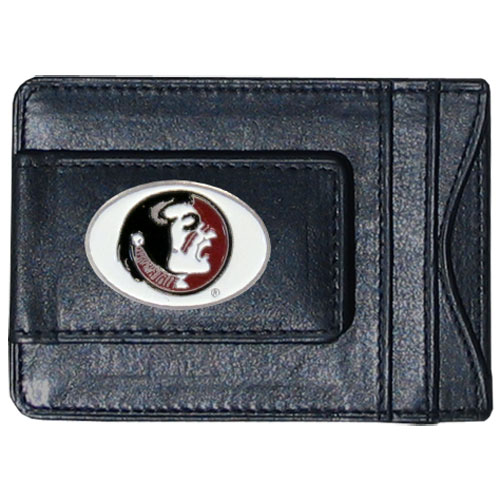 Money Clip/Cardholder - Florida State Seminoles - Our genuine leather collegiate money clip/cardholder is the perfect way to organize both your cash and cards while showing off your Florida State Seminoles spirit! Thank you for shopping with CrazedOutSports.com